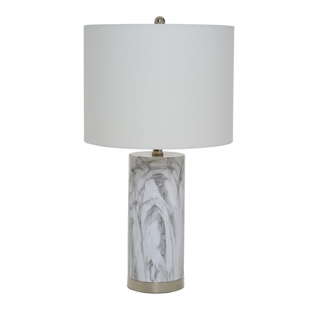 24.5 in. Marble Table Lamp with White Shade