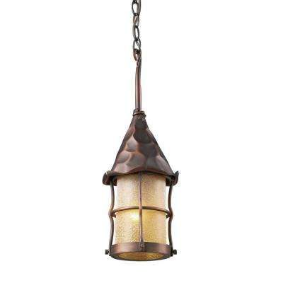 Rustica 1-Light Antique Copper Outdoor Ceiling Mount Pendant