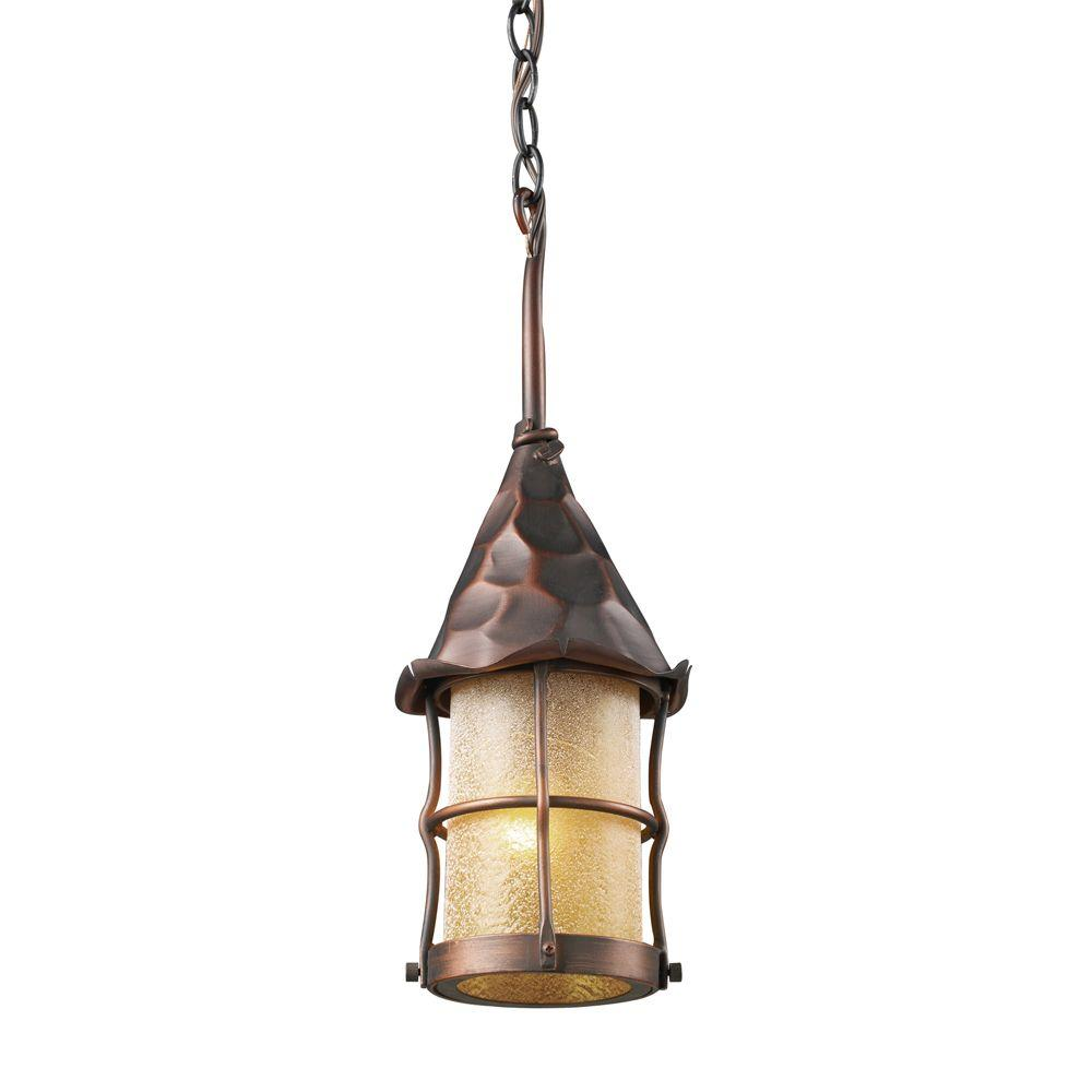 An Lighting Rustica 1 Light Antique Copper Outdoor Ceiling Mount Pendant