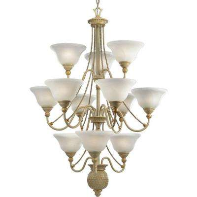 Savannah Collection 12-Light Seabrook Chandelier with Shade with Antique Alabaster Glass Shade