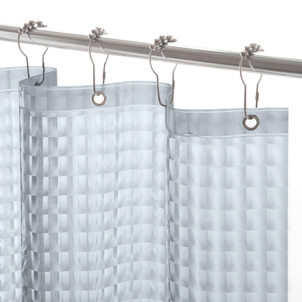 Smoke Medium Weight Embossed Shower Curtain Liner