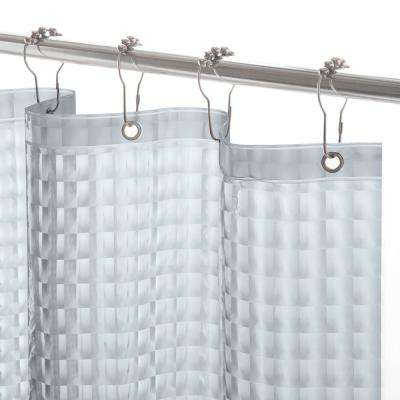PEVA 72 in. Smoke Medium Weight Embossed Shower Curtain Liner