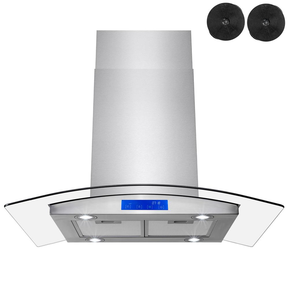 Golden Vantage 36 in Convertible Kitchen Wall Mount Range Hood with Lights in Black Painted Stainless Steel