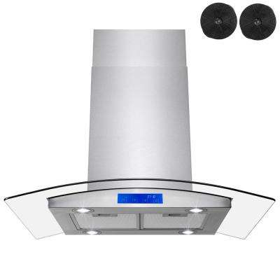 36 in. 343 CFM Convertible Island Mount Range Hood in Stainless Steel with LEDs, Touch Panel and Carbon Filters