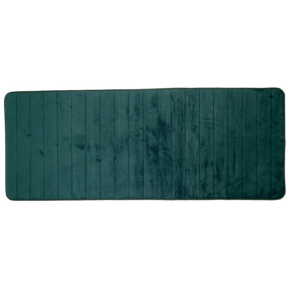 Green 24.25 in. x 60 in. Memory Foam Striped Extra Long Bath Mat