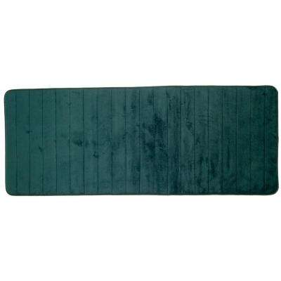 Green 24.25 in. x 60 in. Memory Foam Striped Extra Long Bath Mat