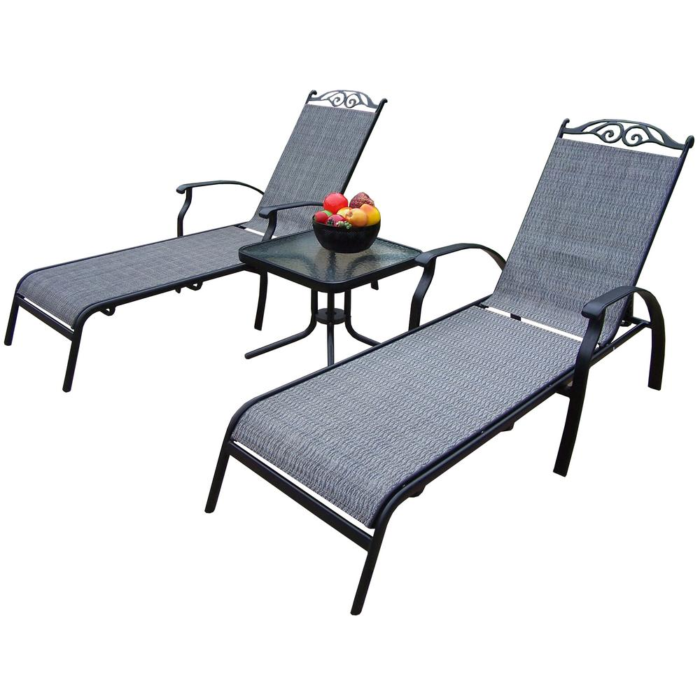 Cascade Black 3-Piece Aluminum Outdoor Sling Chaise Lounge Set