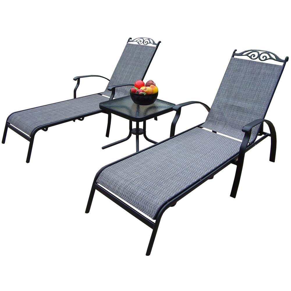 Cascade Black 3-Piece Aluminum Outdoor Sling Chaise Lounge Set