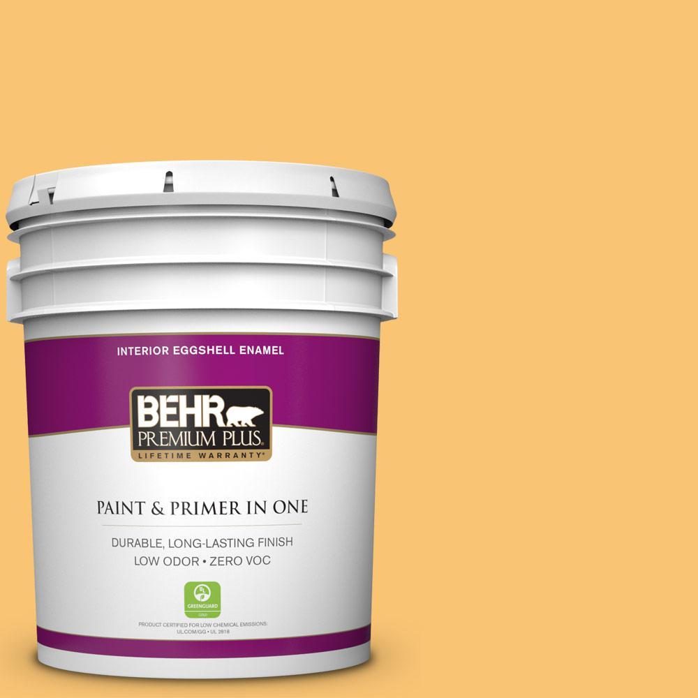 BEHR Premium Plus 5-gal. #BIC-42 Liquid Gold Eggshell Enamel Interior Paint