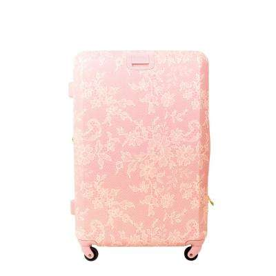 Lace Texture Hard Sided 21 in. Blush Pink Rolling Luggage Suitcase