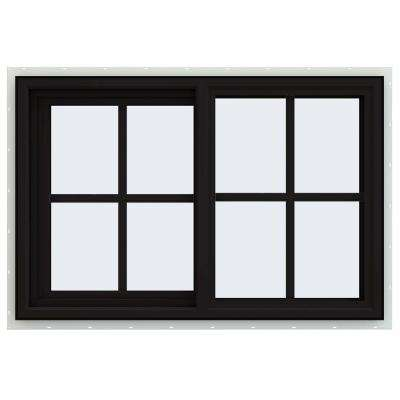 36 in. x 24 in. V-4500 Series Black FiniShield Vinyl Left-Handed Sliding Window with Colonial Grids/Grilles