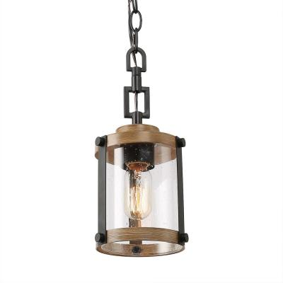 Corta 1-Light 6 in. Rustic Lantern Black Farmhouse Pendant Light with Seeded Glass Shade Compatible LED