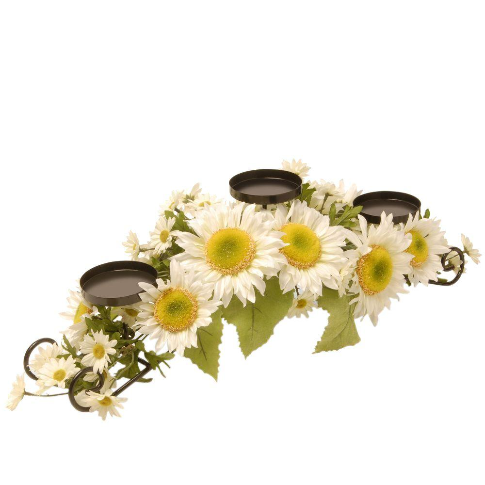 25 in. W White Sunflower Candle Holder