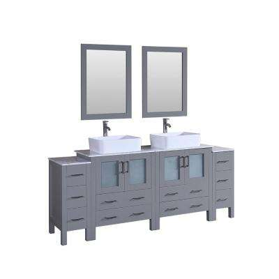 84 in. Double Vanity in Gray with Carrara Marble Vanity Top in Gray with White Basin and Mirror