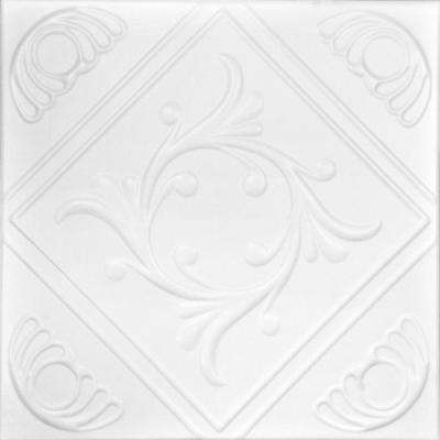 Diamond Wreath 1.6 ft. x 1.6 ft. Foam Glue-up Ceiling Tile in Ultra Pure White