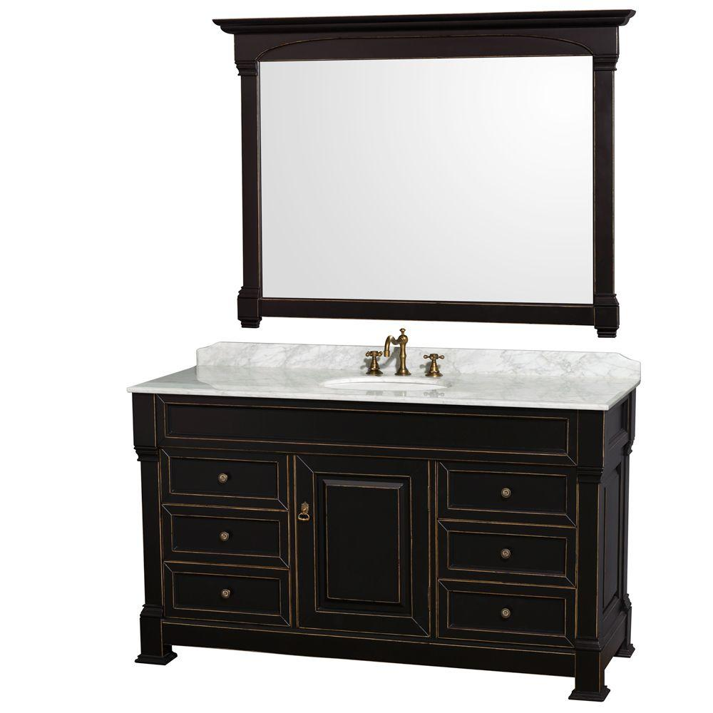 Wyndham Collection Andover 60 in. Single Vanity in Black ...