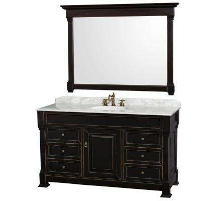 Elegant Andover 60 In. Single Vanity In Black With Marble Vanity Top In Carrara  White With