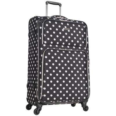 Albany Park 28 in. Lightweight Black/White Polka Dot Printed Expandable 4-Wheel Checked Luggage