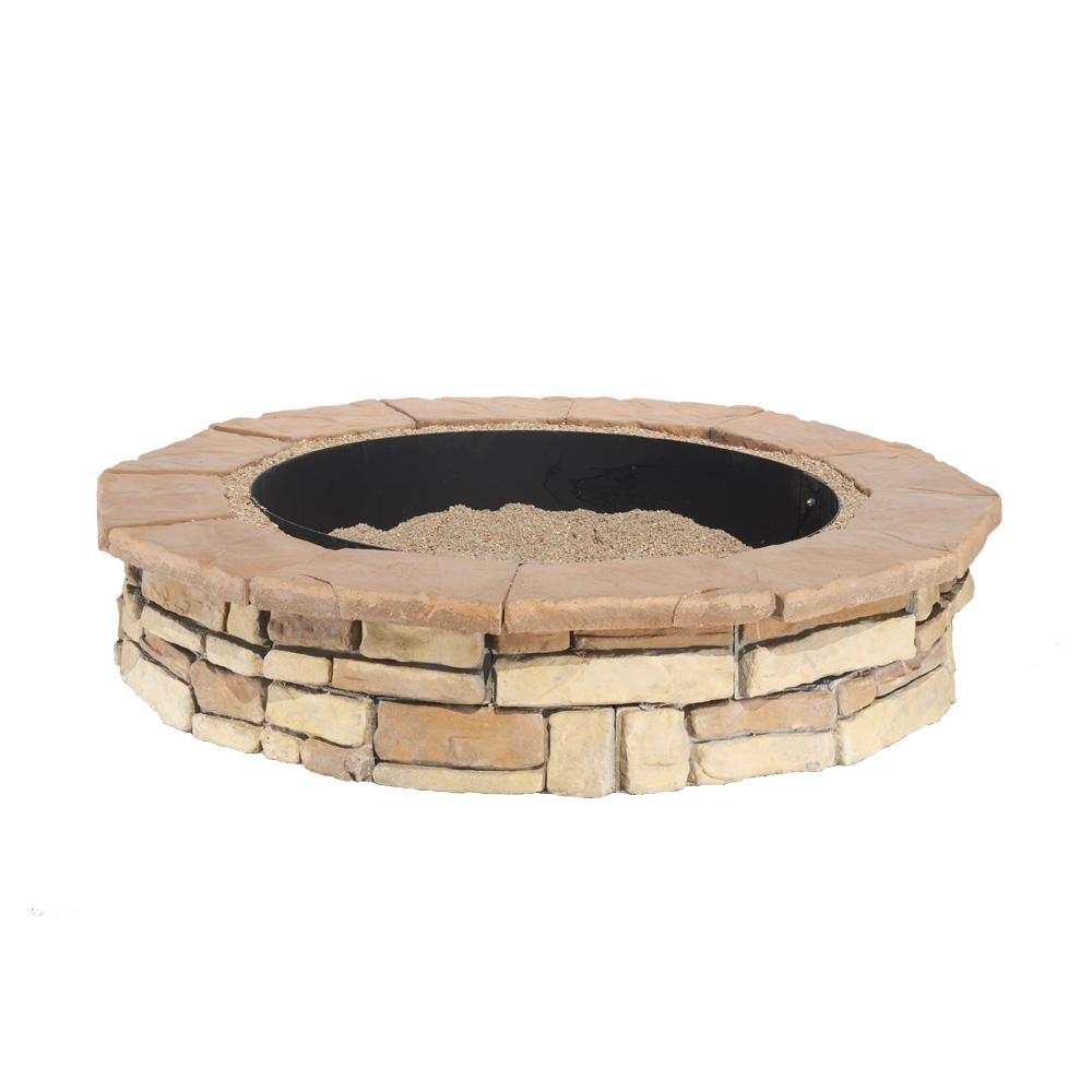 Random Stone Brown Round Fire Pit Kit-RSFPB - The Home Depot - Natural Concrete Products Co 44 In. Random Stone Brown Round Fire