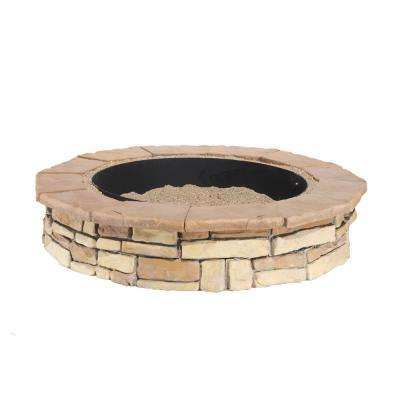 44 in. Random Stone Brown Round Fire Pit Kit