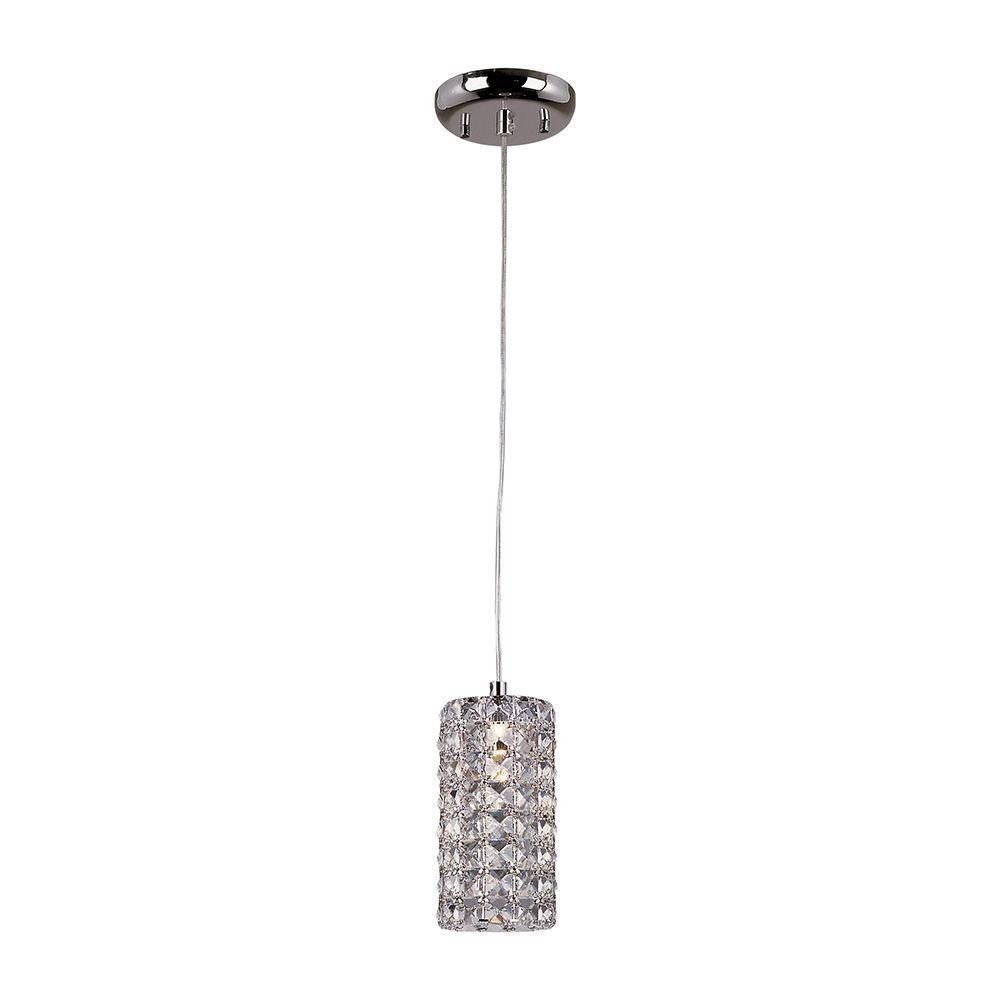 Monteaux Lighting 1 Light Crystal And Chrome Mini Pendant
