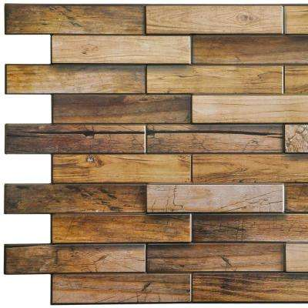 3D Falkirk Retro 10/1000 in. x 39 in. x 19 in. Yellowish Brown Faux Walnut Wood PVC Wall Panel
