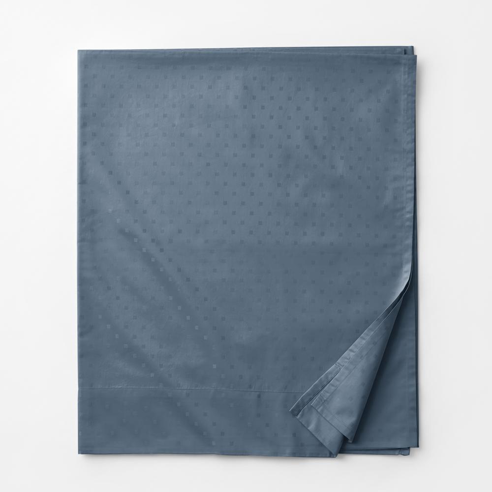 Legends Luxury Dot Mirage Blue 500-Thread Count Cotton Sateen Queen Flat Sheet