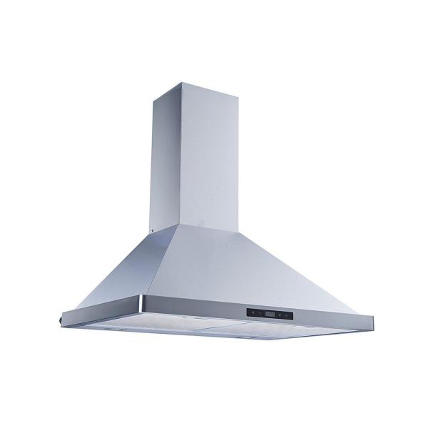 Winflo 30 In 520 Cfm Convertible Wall Mount Range Hood In Stainless Steel With Mesh Filters And Touch Sensor Control Wr003b30 The Home Depot