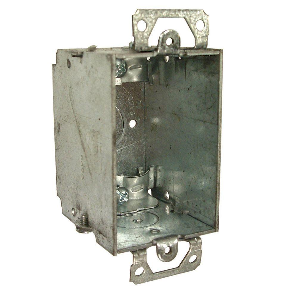 3 in. x 2 in. Gangable Switch Electrical Box, NMSC Clamps, Plaster Ears