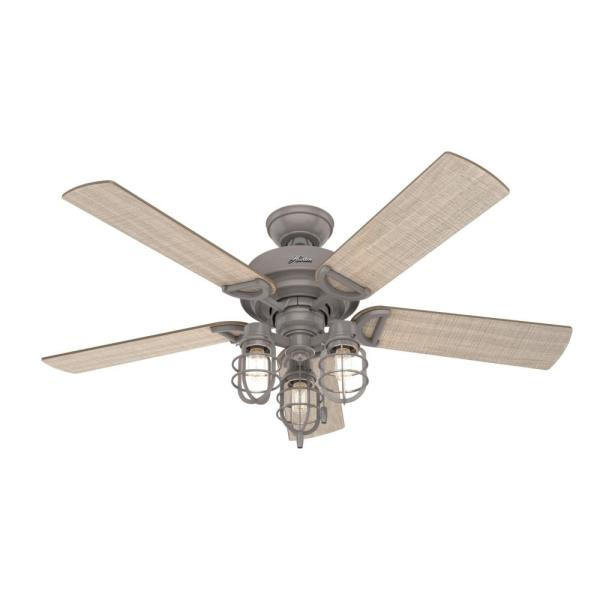 Hunter Starklake 52 In Led Indoor Outdoor Quartz Gray Ceiling Fan With Light 50410 The Home Depot