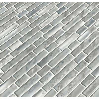 Silver Canvas Interlocking 12 in. x 12 in. x 8 mm Glossy Glass Mesh-Mounted Mosaic Tile (10 sq. ft. / case)