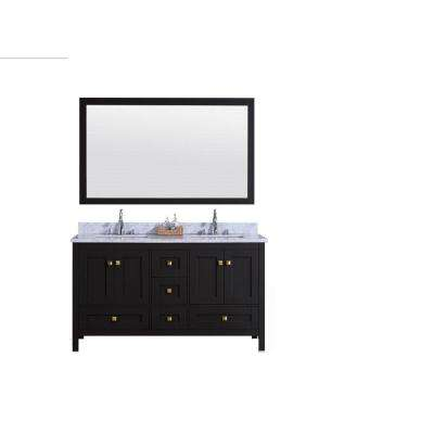 61 in. W x 22 in. D Vanity in Espresso with Marble Vanity Top in White and Gray with White Basin and Mirror