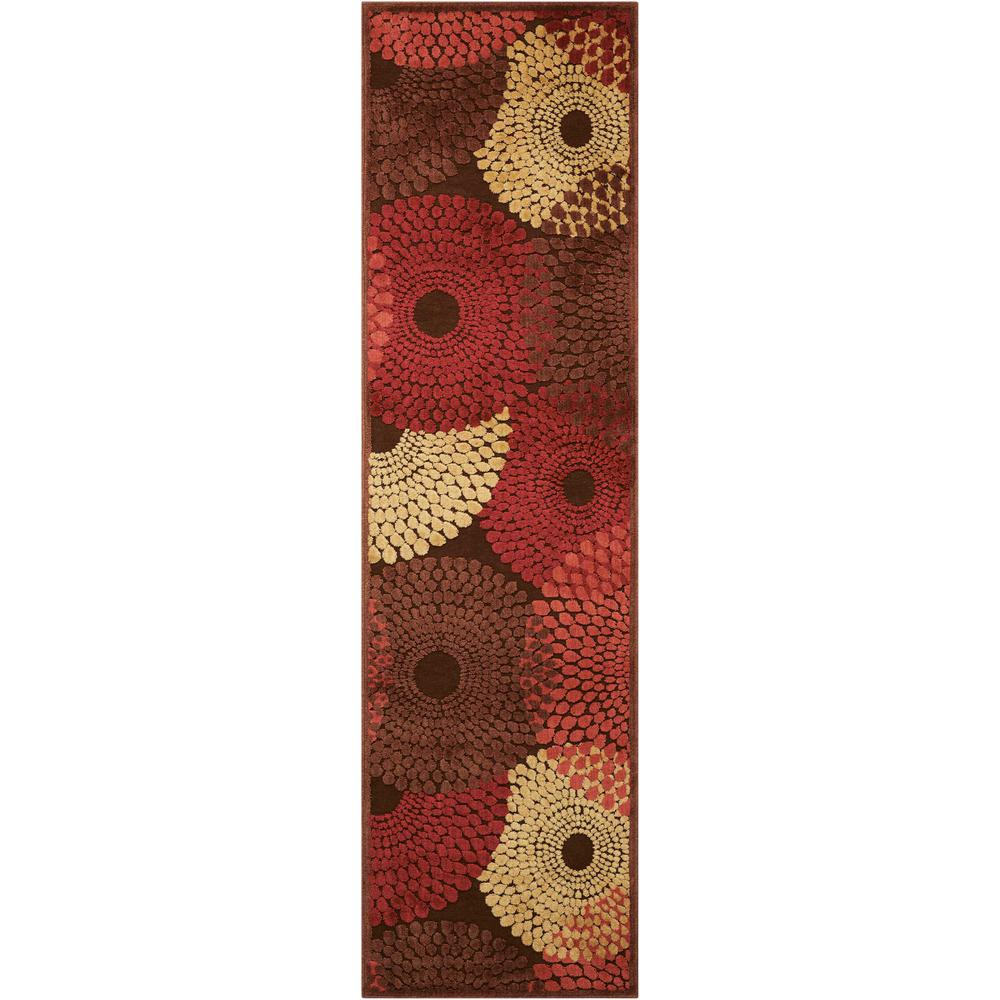 Nourison Graphic Illusions Brown 2 ft. x 8 ft. Runner Rug