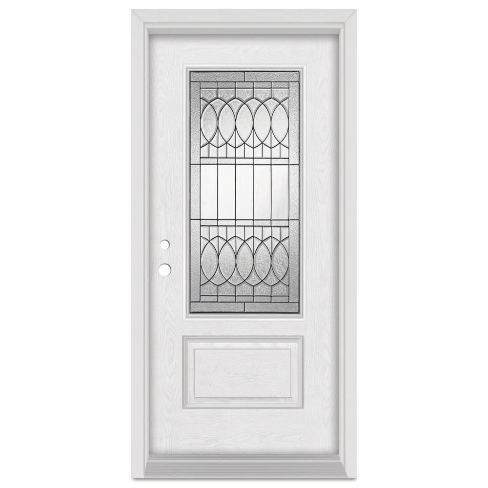 Stanley Doors 37.375 in. x 83 in. Nightingale Right-Hand Patina Finished Fiberglass Oak Woodgrain Prehung Front Door Brickmould