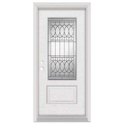 36 in. x 80 in. Nightingale Right-Hand Patina Finished Fiberglass Oak Woodgrain Prehung Front Door Brickmould