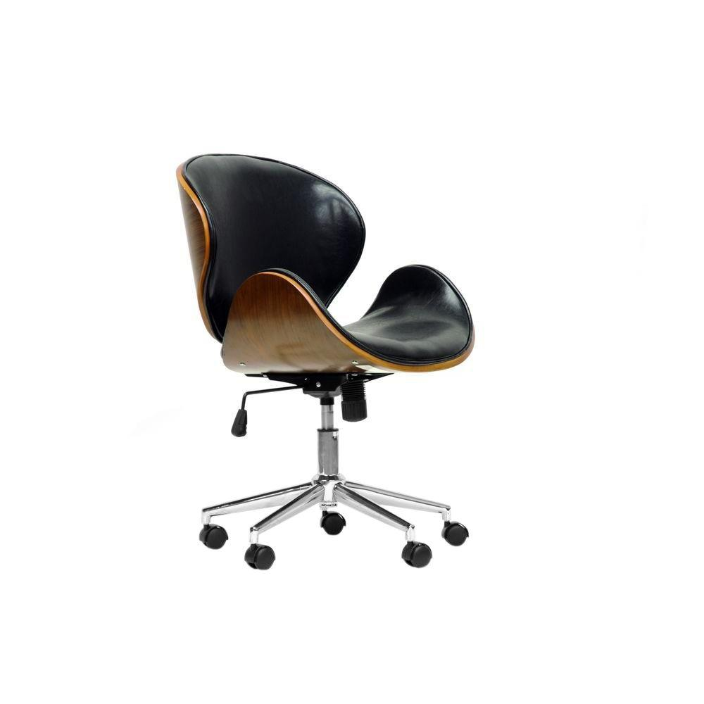 Baxton Studio Bruce Black Faux Leather Office Chair