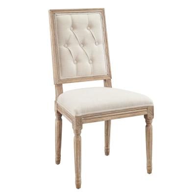 Alton Linen Tufted Square Back Dining Chairs (Set of 2)