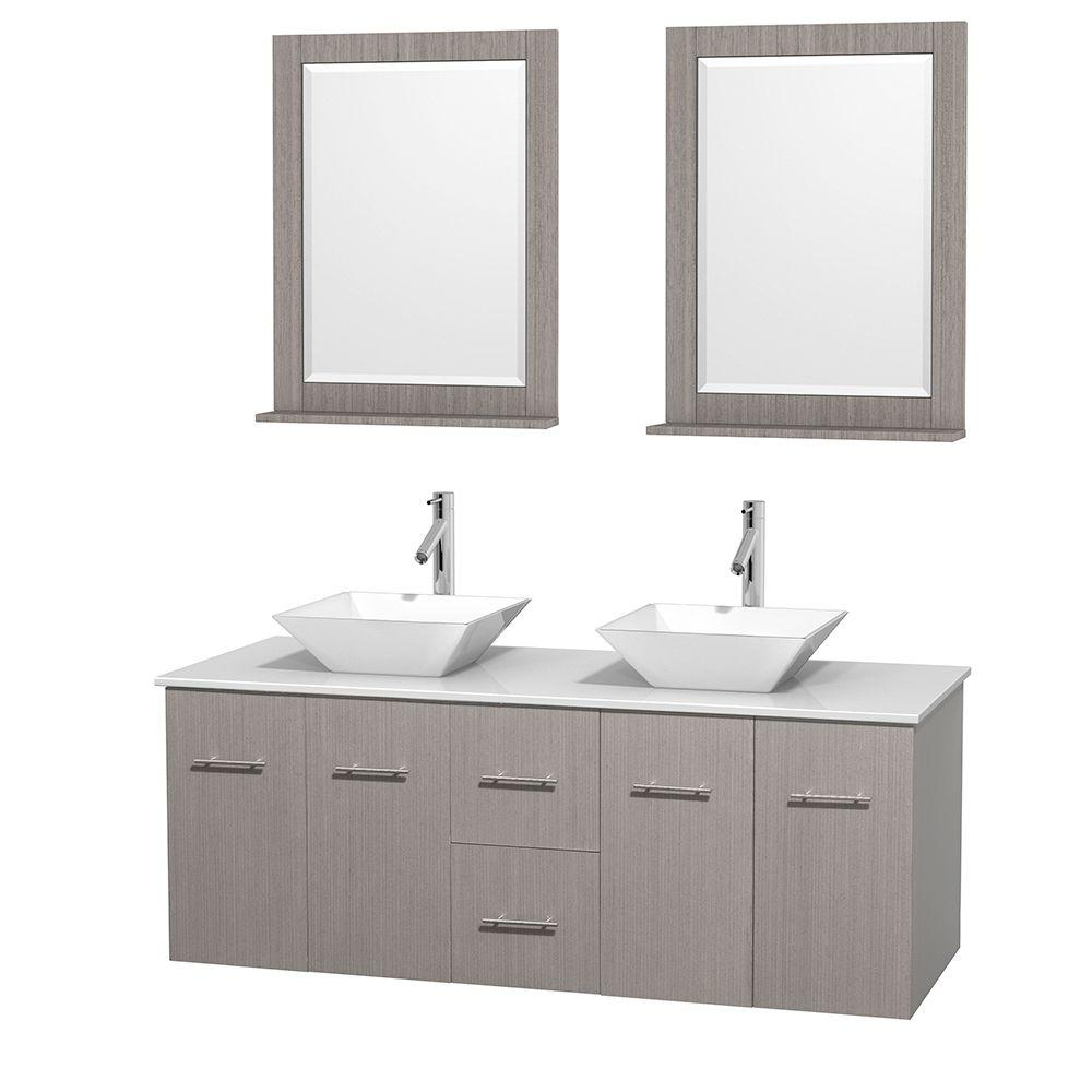 Wyndham Collection Centra 60 in. Double Vanity in Gray Oak with Solid-Surface Vanity Top in White, Porcelain Sinks and 24 in. Mirror