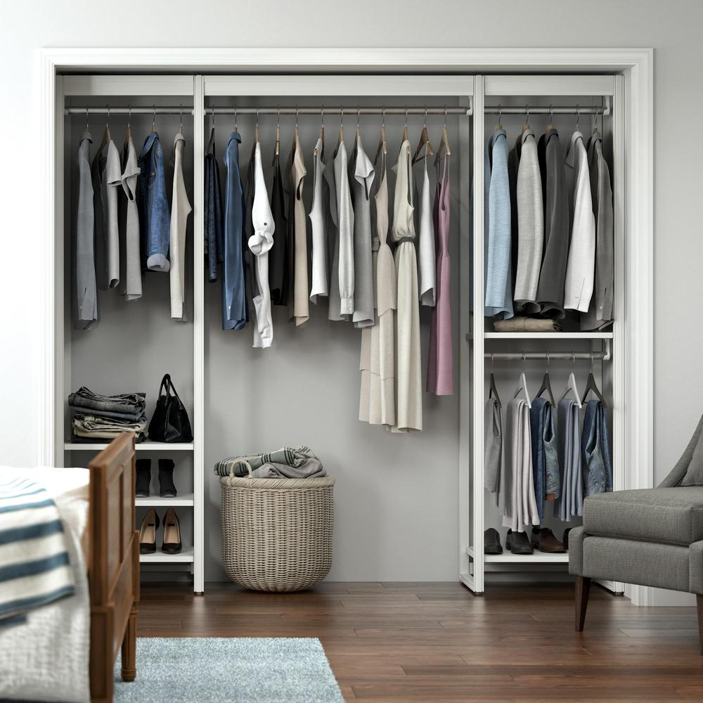 Closets By Liberty 91 In W White Adjustable Tower Wood Closet System With 8 Shelves Hs4sp70 Rw 08 The Home Depot