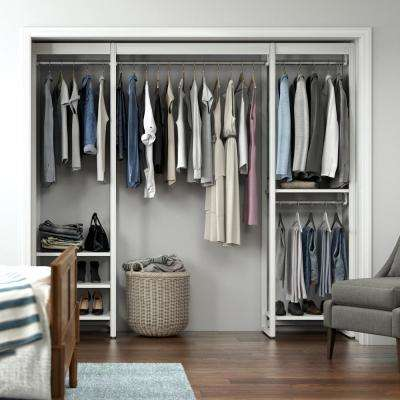 91 in. W White Adjustable Tower Wood Closet System with 8 Shelves