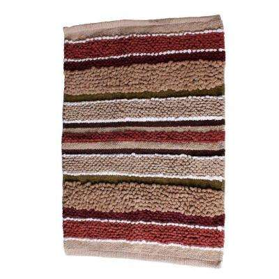 Madison Stripe 20 in. x 30 in. Cotton Bath Rug in Red