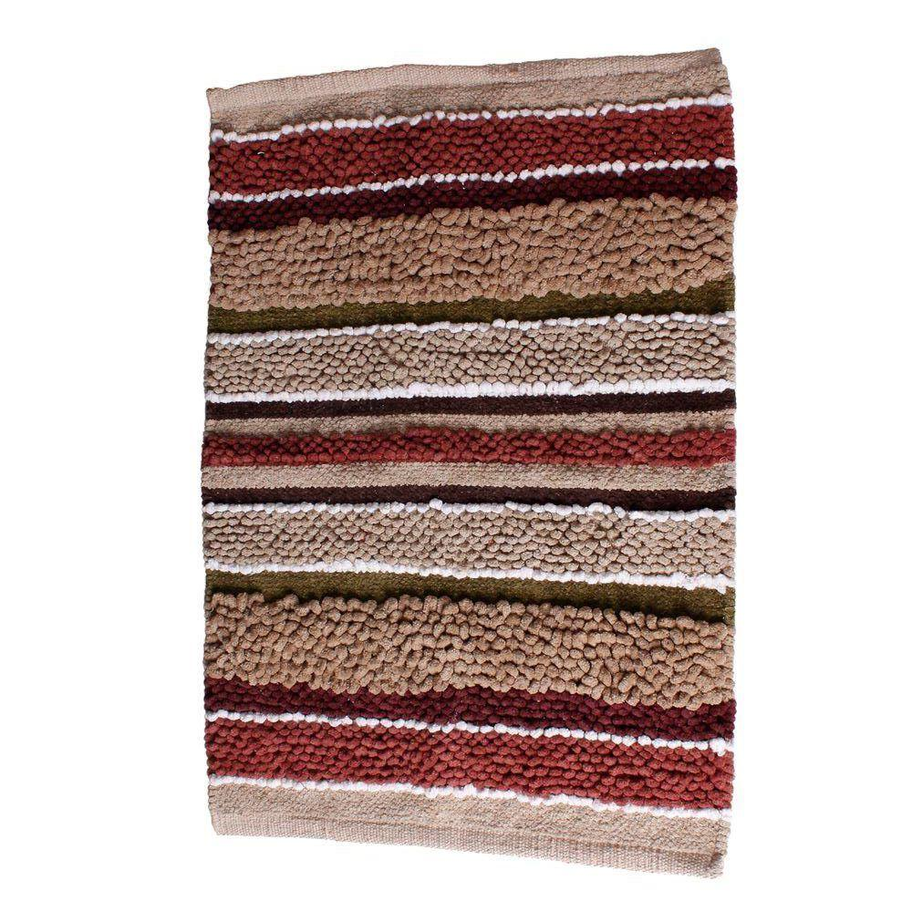 Red Bathroom Rug: BATH MAT RED Madison Stripe 20 In 30 In Hand Tufted