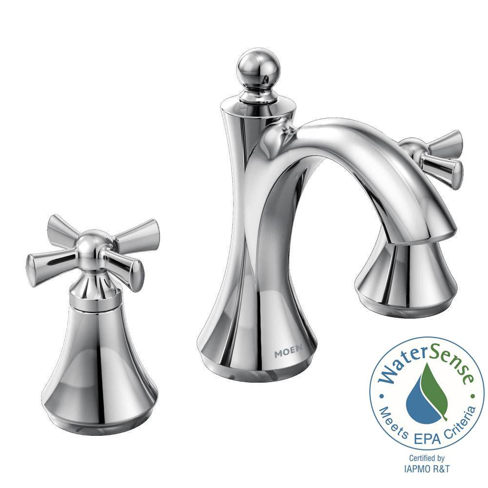 MOEN Wynford 8 in. Widespread 2-Handle High-Arc Bathroom Faucet with ...