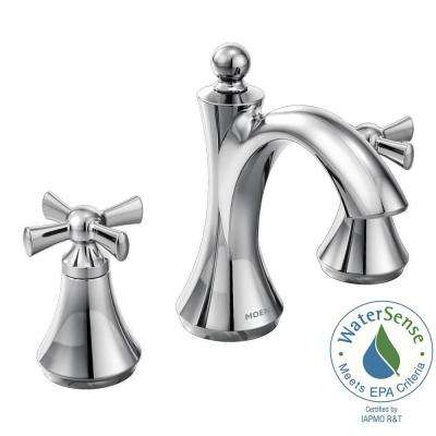 Wynford 8 in. Widespread 2-Handle High-Arc Bathroom Faucet with Cross Handles in Chrome (Valve Sold Separately)
