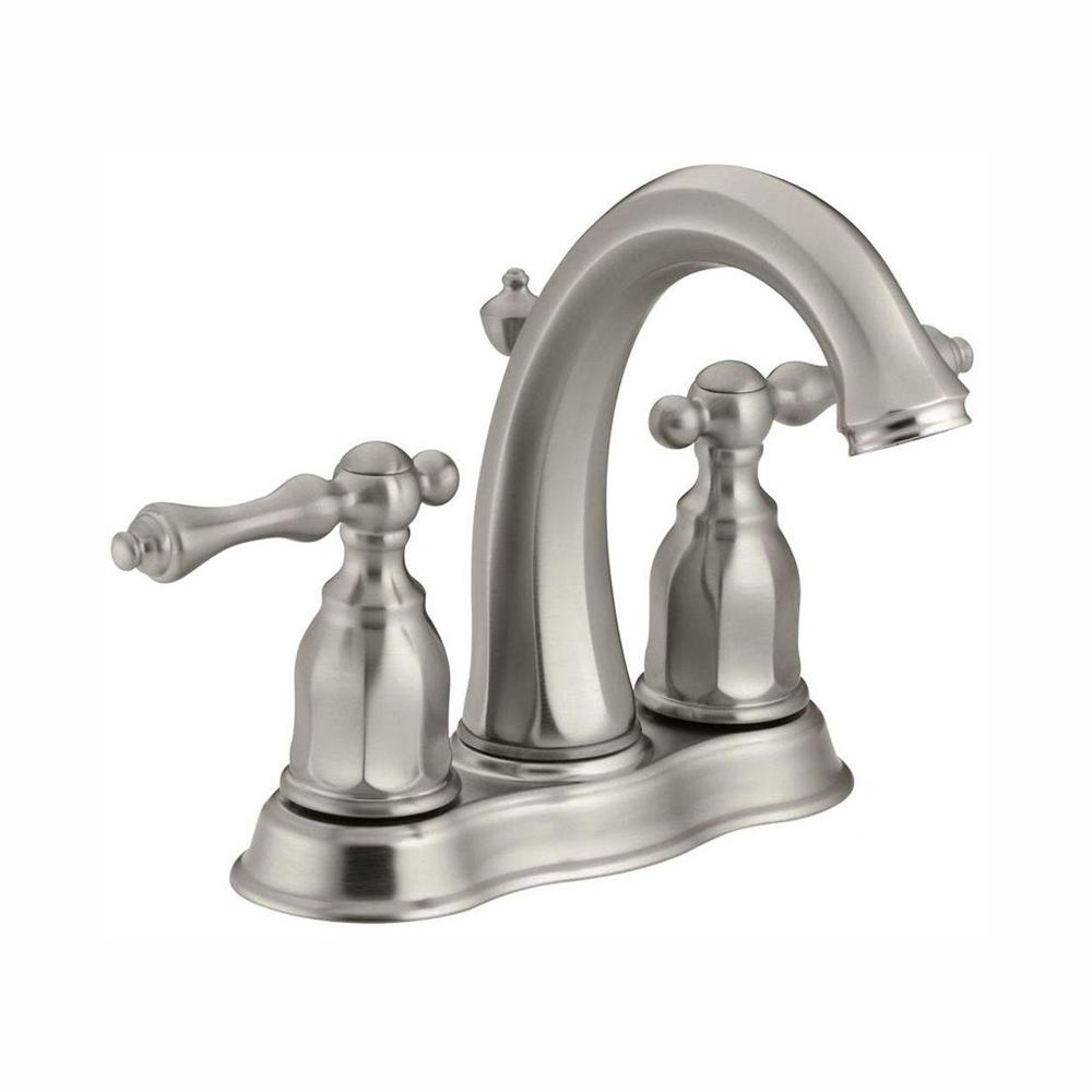 KOHLER Kelston 4 in. 2-Handle Mid-Arc Water-Saving Bathroom Faucet in Vibrant Brushed Nickel