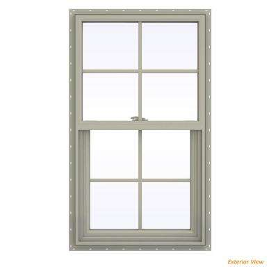 23.5 in. x 41.5 in. V-2500 Series Desert Sand Vinyl Single Hung Window with Colonial Grids/Grilles