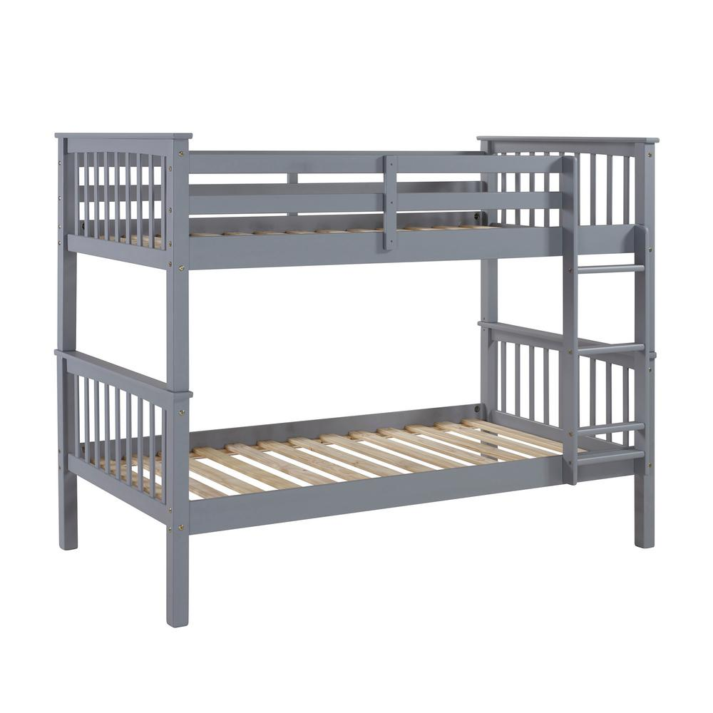 Walker Edison Furniture Company Grey Twin Over Twin Solid Wood