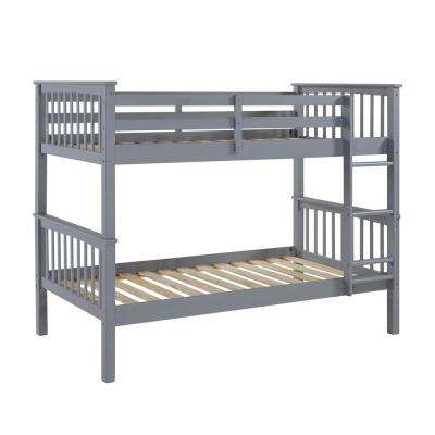 Grey Twin Over Twin Solid Wood Mission Design Bunk Bed