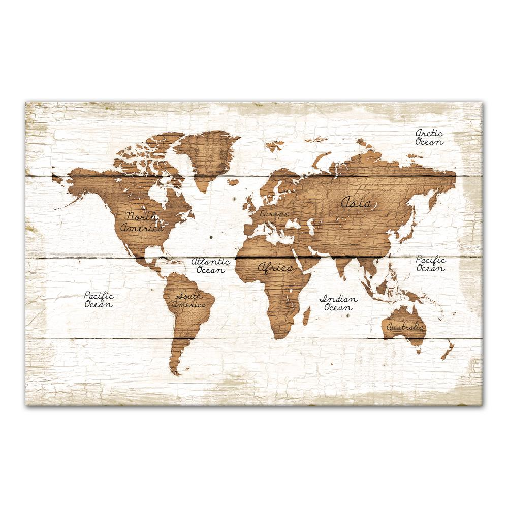 24 in. x 36 in. ''Distressed Wood World Map'' Printed Canvas