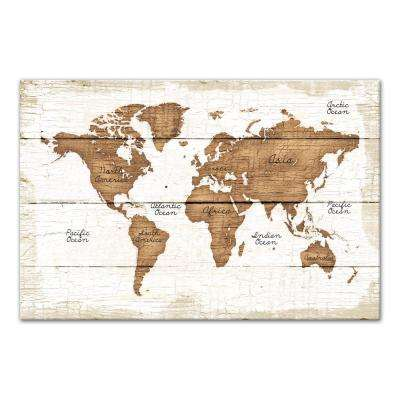 24 in. x 36 in. ''Distressed Wood World Map'' Printed Canvas Wall Art
